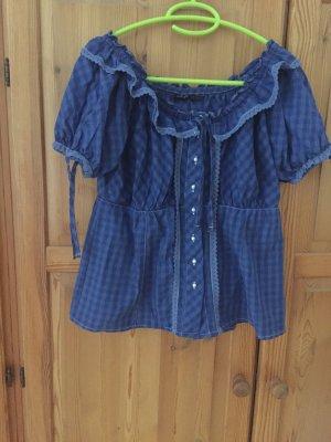 Folkloristische blouse donkerblauw-staalblauw