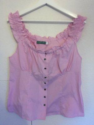 Country Line Geruite blouse wit-lichtroze