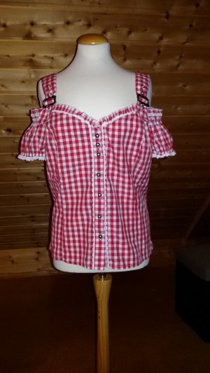 Fuchs Trachtenmoden Traditional Blouse white-brick red