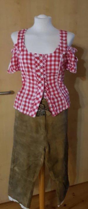 Spieth & Wensky Blusa tradizionale bianco sporco-rosso