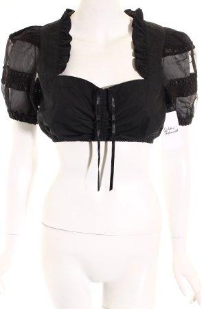 Folkloristische blouse zwart romantische stijl