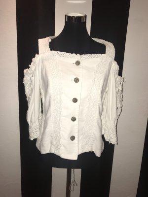 Folkloristische blouse donkerbruin-wolwit