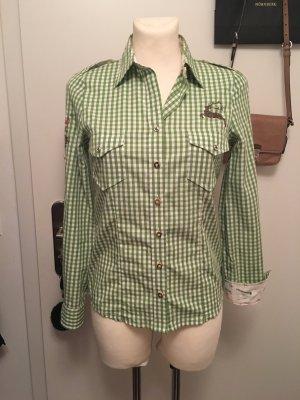 Folkloristische blouse groen-wit