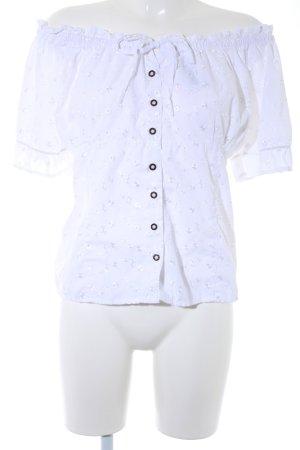 Folkloristische blouse wit bloemenprint Geborduurde versieringen