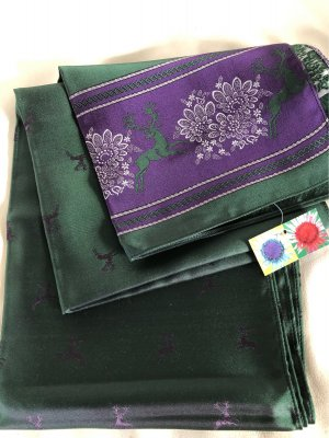Berwin & Wolff Silk Scarf dark violet-forest green silk