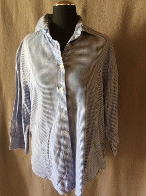 Trachtenhemd Mattina Gr 44 blau weiß kariert