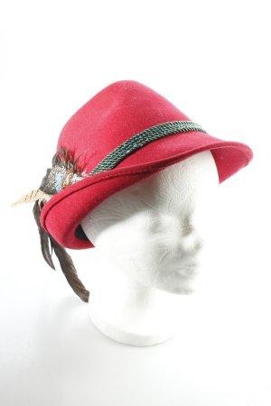 Chapeau bavarois rouge foncé-vert forêt style classique