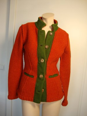 Kleidermanufaktur Habsburg Veste bavaroise rouge-vert forêt laine