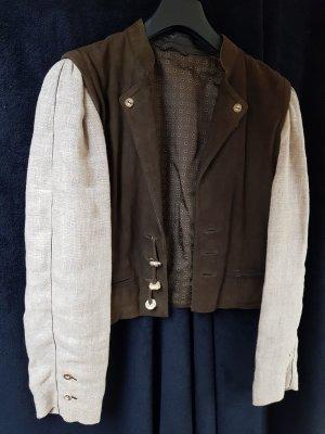 Folkloristische jas grijs-bruin-donkerbruin