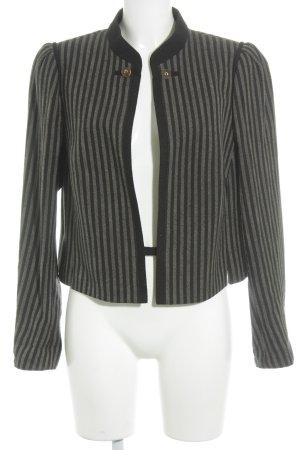 Trachtenjacke schwarz-graubraun Streifenmuster Antik-Look