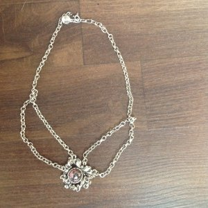 Necklace silver-colored-light pink no material specification existing