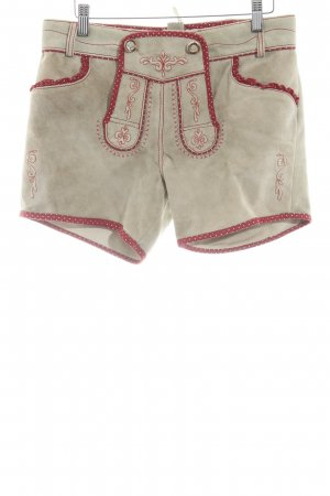 Traditional Leather Trousers beige-red Fabric inserts