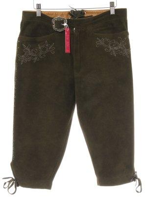 Pantalon traditionnel en cuir marron clair-vert foncé style rétro