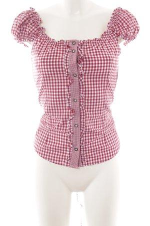 Trachtenmanufaktur München Folkloristische blouse wit-framboosrood