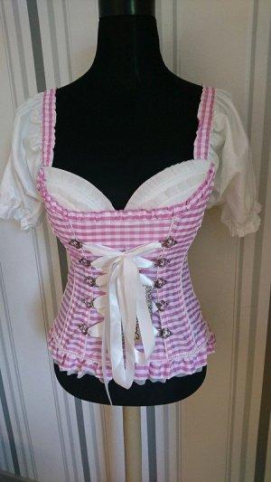 Corpetto tradizionale bianco-rosa Tessuto misto