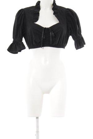 Trachtenpoint Folkloristische blouse zwart klassieke stijl