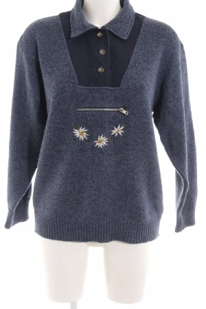 Traditional Jumper dark blue flower pattern country style