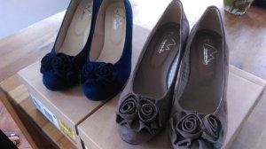 Hirschkogel Tacones azul oscuro-marrón grisáceo Cuero