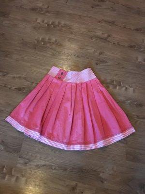 Folkloristische rok roze-wit Linnen