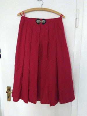 Falda de talle alto rojo ladrillo-rojo Lino
