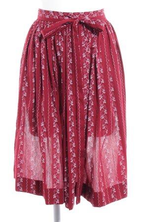 Delantal folclórico rojo oscuro-blanco Mezcla de patrones look casual
