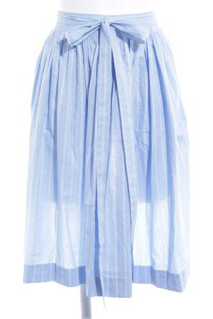 Delantal folclórico azul celeste-blanco estampado a rayas estilo romántico