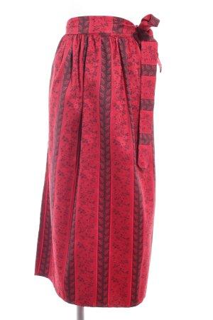 Delantal folclórico rojo-rojo oscuro estampado floral look efecto mojado
