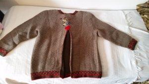 Veste bavaroise rouge-marron clair laine