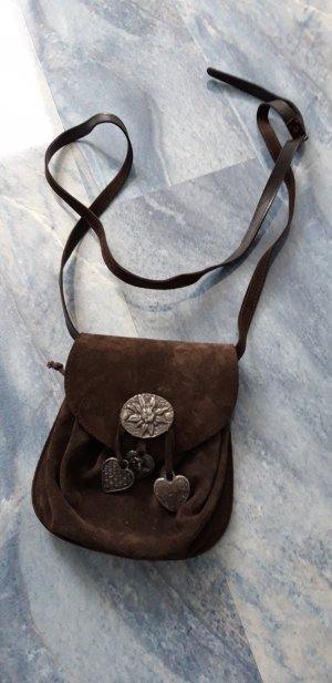 Pouch Bag dark brown-black brown leather