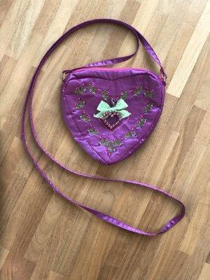 Trachtentasche in Herzform, lila mit Strassherz