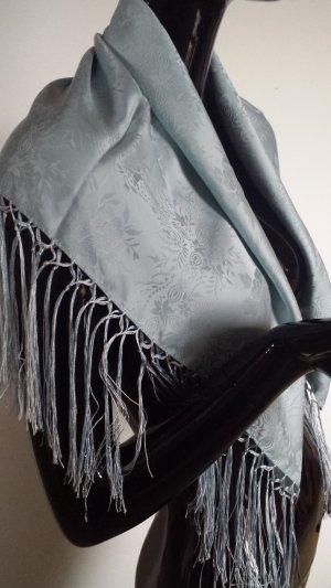 Trachtentuch in Seide in sehr hellem blaugrau 72x72cm