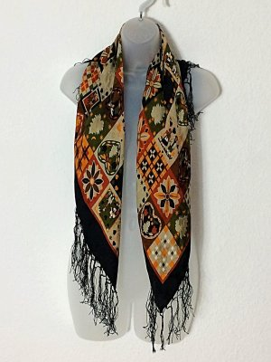 Vintage Traditional Scarf multicolored silk