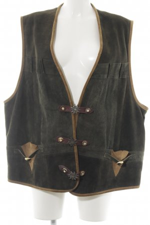 Chaleco folclórico verde oscuro-marrón estilo country
