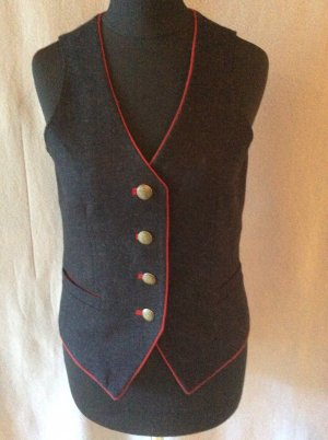 Traditional Vest anthracite-dark red new wool