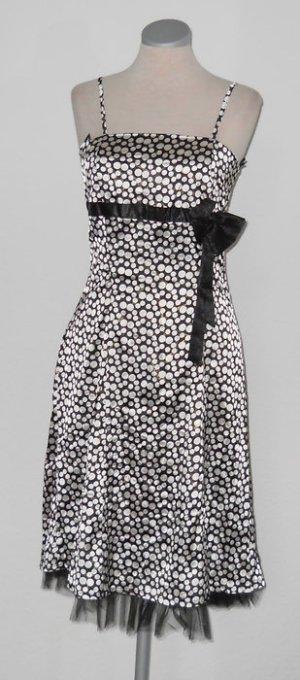 Träger Kleid Gr. S 36 neu Tüll Satin Polkadots schwarz weiß Punkte Rockabilly