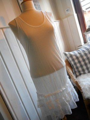Träger-Shirt Mini Kleid Longshirt Weiß  viel Spitze NEU von Co2 Collection Vintage