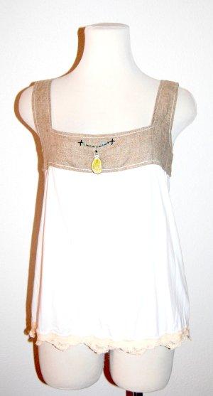 Träger Shirt - Top mit Spitzeborte in weiß-beige von Elisa Cavaletti  - Gr. S