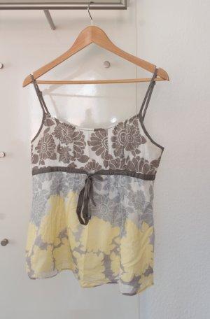 Esprit Haut à fines bretelles jaune primevère-gris clair coton