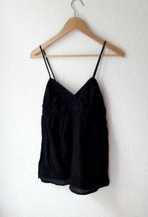 Träger-Top Zara Camisole schwarz vintage Tanktop V-Ausschnitt S