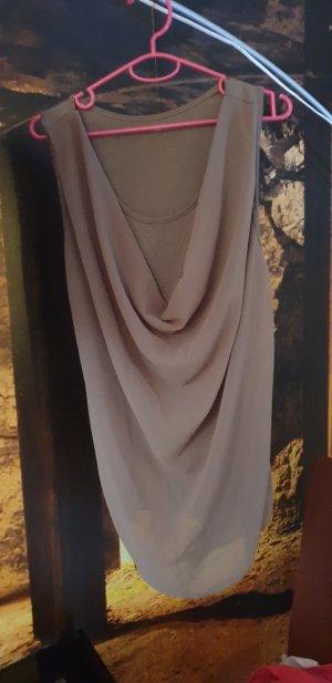 Camisa con cuello caído marrón grisáceo-caqui