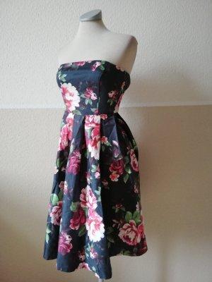Trägerkleid Bandeaukleid Kleid knielang schwarz Rosen Gr. 32 Mohito neu retro Rockabilly