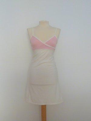 Trägerkleid in weiß-rosa