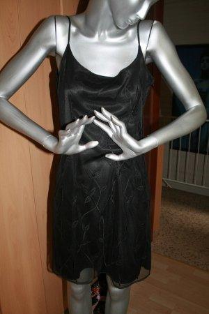 Trägerkleid kurz schwarz mit Tüll/Spitze B-Young Gr. M