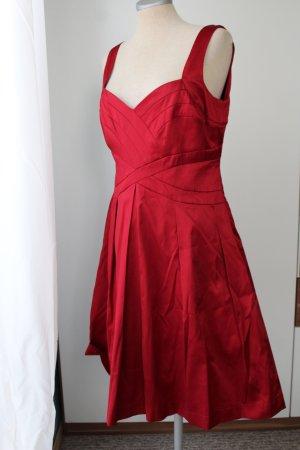 Trägerkleid rot Satin Orsay Gr. 40 M Sommerkleid Cocktailkleid Satinkleid rückenfrei knielang