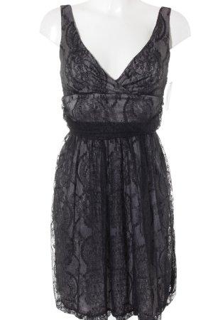 Trägerkleid schwarz-hellgrau florales Muster Romantik-Look