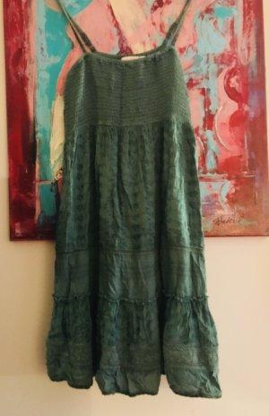 Trägerkleid Smaragdgrün Baumwolle Ethno Hippiechic Fransa skandinavisches Label M