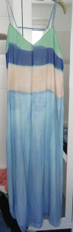 Zara Robe à bretelles blanc cassé-bleu azur