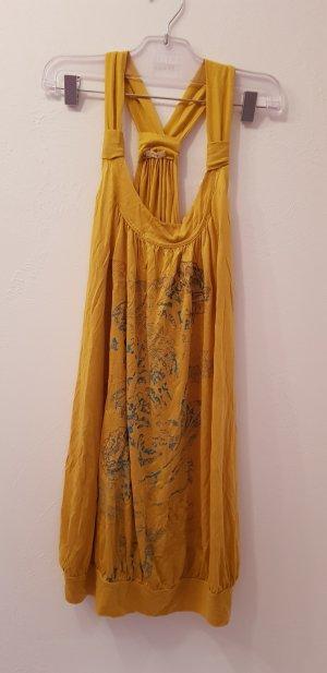 Replay Robe à bretelles orange doré-bleu fluo