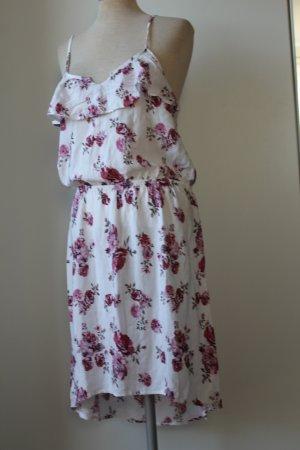 Trägerkleid weiß Rosen 100 % Viskose Sommerkleid L XL 40 42