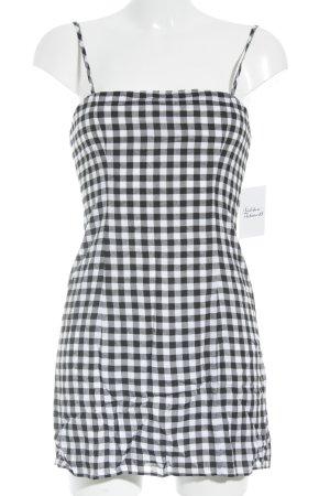 Trägerkleid weiß-schwarz Karomuster Casual-Look